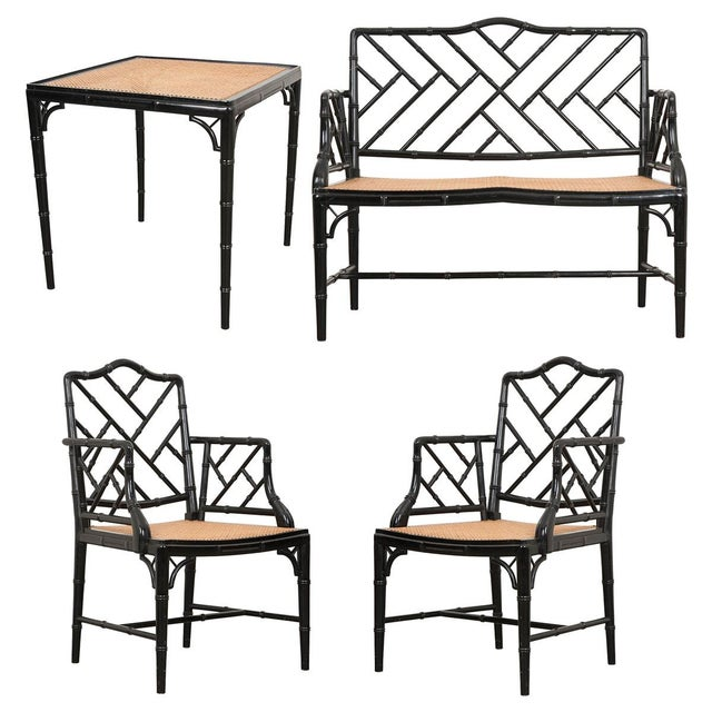 English Vintage Chinese Chippendale Four-Piece Conservatory Suite For Sale - Image 13 of 13