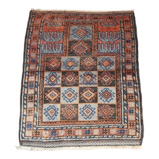 1930s Vintage Double Knotted Wool Prayer Rug For Sale