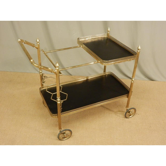 Vintage French Brass Bar Cart For Sale - Image 4 of 8