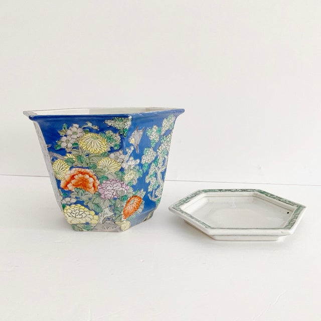 Chinoiserie Blue Cherry Blossom and Birds Planter With Saucer For Sale In Miami - Image 6 of 10