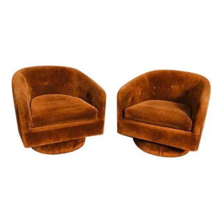 1970s Vintage Milo Baughman Style Swivel Lounge Chairs - a Pair For Sale