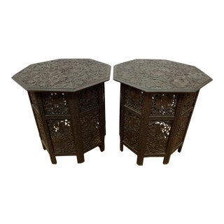 Anglo Indian Carved Octagonal Fretwork End Tables - a Pair For Sale