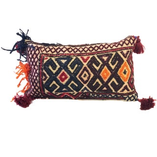 """Antique Lumbar Afghan Tribal Pillow 14"""" W For Sale"""