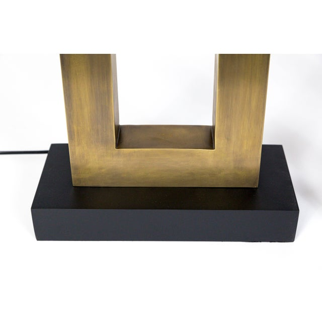 1970s Rectangular Antiqued Brass Table Lamps - a Pair For Sale - Image 4 of 11