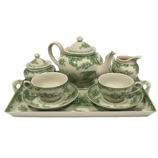 Gondola Green Transferware Porcelain Tea Set With Tray - Antique Reproduction - 10 Pieces For Sale