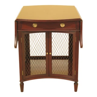 1980s Traditional Baker Drop Leaf Mahogany End Table For Sale