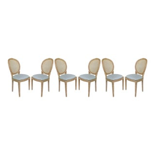Faux Bois Wood & Cane Side Chairs- Set 6