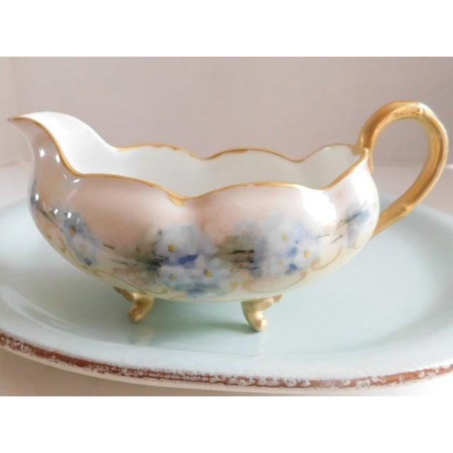 Ceramic Limoges Hand-Painted Porcelain Footed Creamer/Saucer For Sale - Image 7 of 11