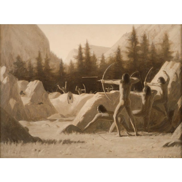 1911 Charles Jacob Hittell Native American Legends #4 Original Oil Painting For Sale - Image 9 of 9