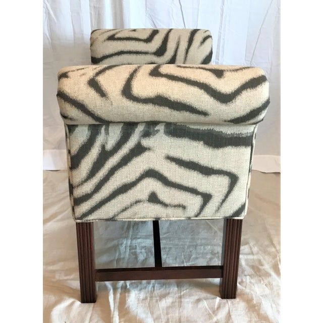Zebra Print Scroll Arm Bench For Sale - Image 4 of 4