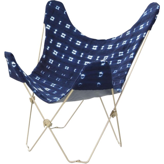Indigo Mudcloth Butterfly Chair For Sale