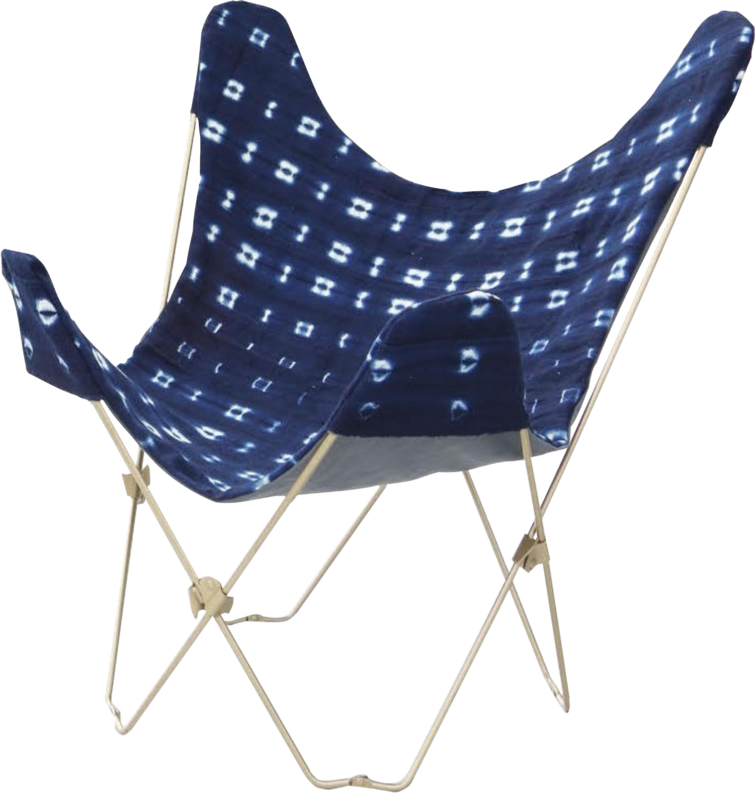 Attirant Indigo Mudcloth Butterfly Chair