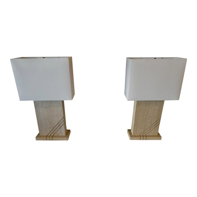 1980s Postmodern Travertine Table Lamps - a Pair For Sale