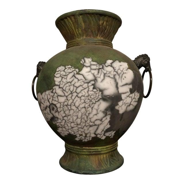 Tony Evans Raku Large Vase With Metal Horse Handles For Sale