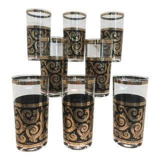 Mid-Century Culver Black & Gold Toledo Highball Glasses - Set of 8