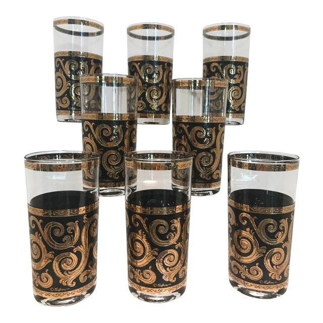 Mid-Century Culver Black & Gold Toledo Highball Glasses - Set of 8 For Sale