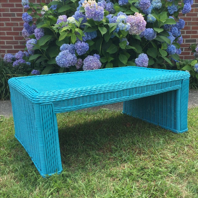 Caribbean Blue Indoor-Outdoor Wicker Coffee Table - Image 7 of 7