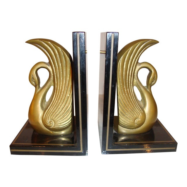 Metal Art Deco Swan Book Ends - A Pair For Sale