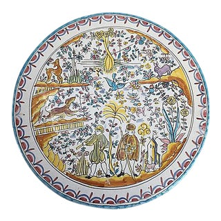 French Country Style Hand-Painted Faience Wall Platter