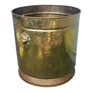 Boho Chic Oversized Hammered Brass Planter For Sale