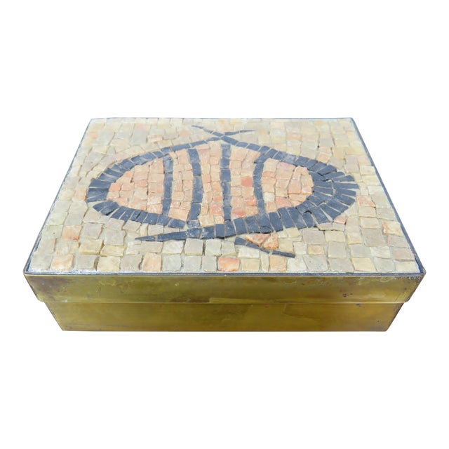 Vintage Brass & Mosaic Stone Box For Sale