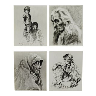 Vintage Native American Indian Prints on Foam Board - Group of 4 For Sale