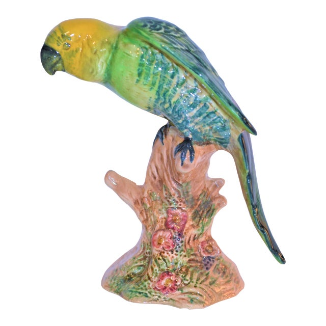 Vintage Beswick English Porcelain Yellow Headed Parrot Figurine For Sale