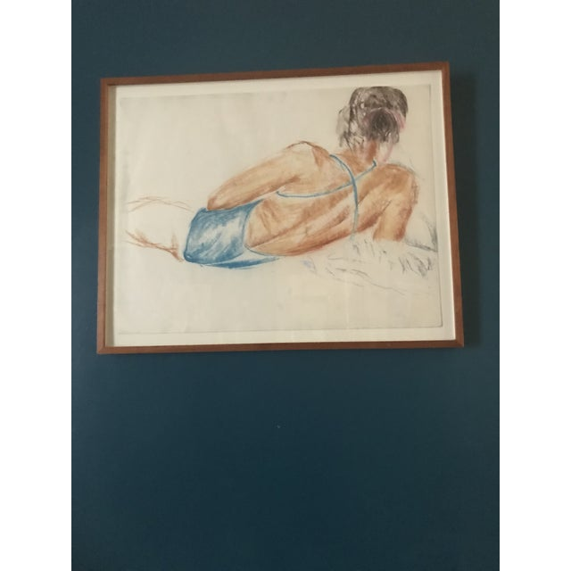 Vintage Drawing of a Reclining Woman For Sale In Boston - Image 6 of 6