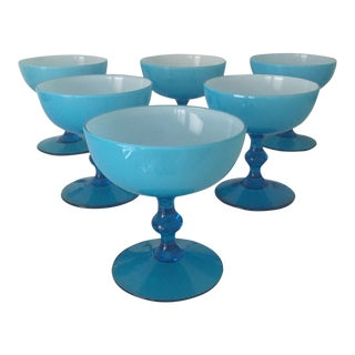 1970s Mid-Century Modern Italian Carlo Moretti Turquoise Blue Sherbets - Set of 6