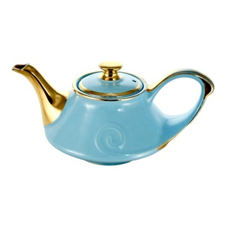 1950s Aqua & 22k Gold Teapot For Sale