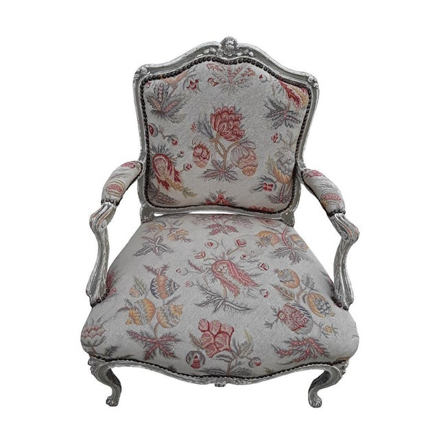 Farmhouse Pair French Needlepoint Bergeres Antique Pair of Shabby French Country Armchairs For Sale - Image 3 of 6