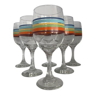 1980s Libbey Glass Co. Mambo Fiesta Rainbow Wine Goblets- Set of 6 For Sale