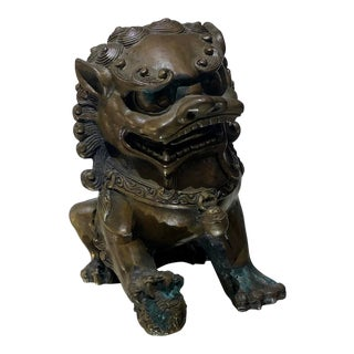 Antique 19c Japanese Bronze Foo Dog For Sale