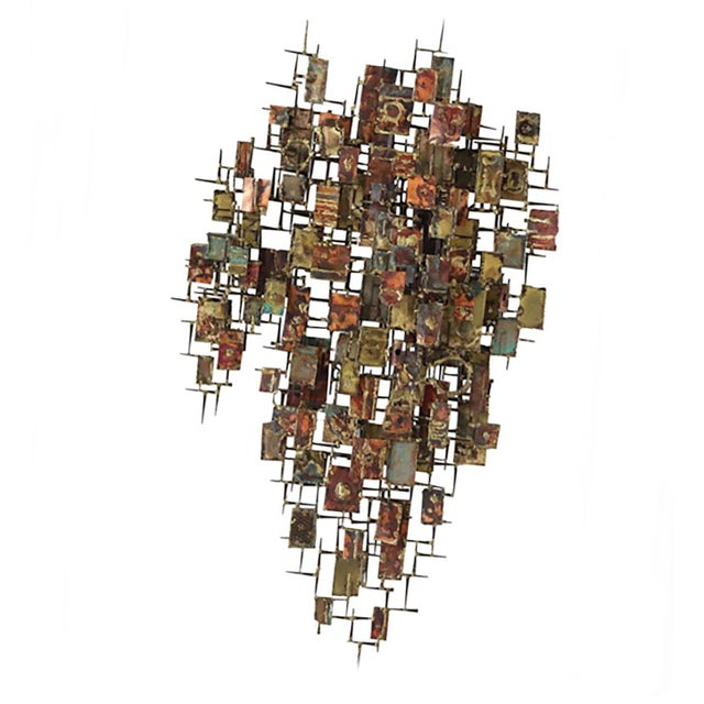 1960s Mid Century Brutalist Metal Wall Sculpture For Sale - Image 4 of 4