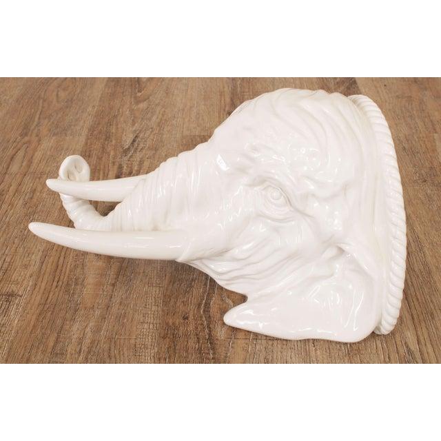 Hollywood Regency Vintage Italian Ceramic Pair White Elephant Wall Shelves For Sale - Image 12 of 13