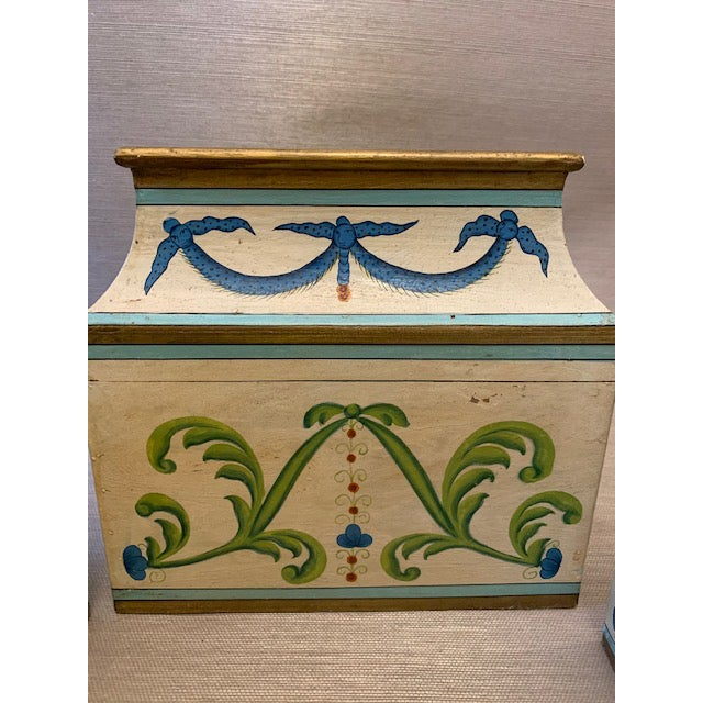 Antique Italian Leaves and Swags Painted Boxes - Set of 3 For Sale - Image 9 of 11