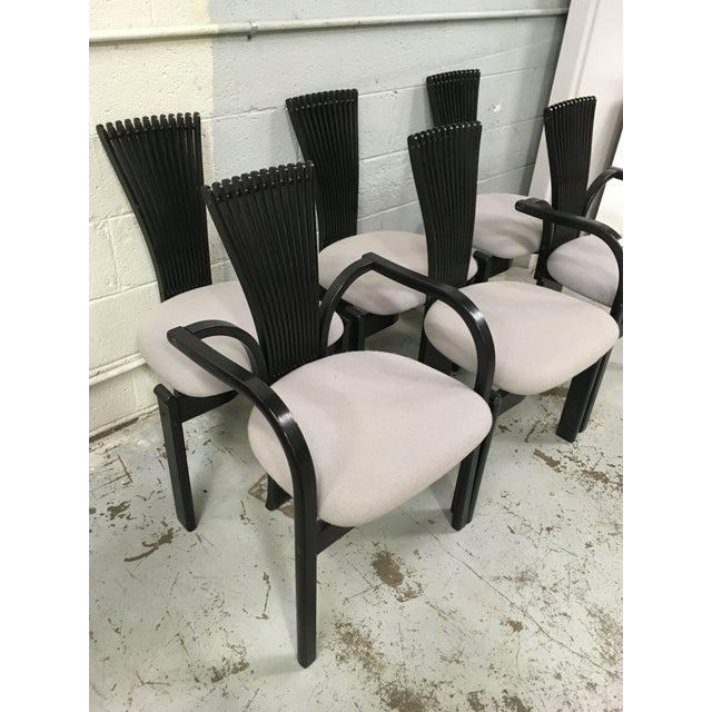 These chairs are a rarer black variant and have the original gray upholstery from Westnofa. Produced circa 1980s.