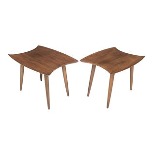 Rare Adrian Pearsall Walnut Stingray Side Tables Craft Associates For Sale
