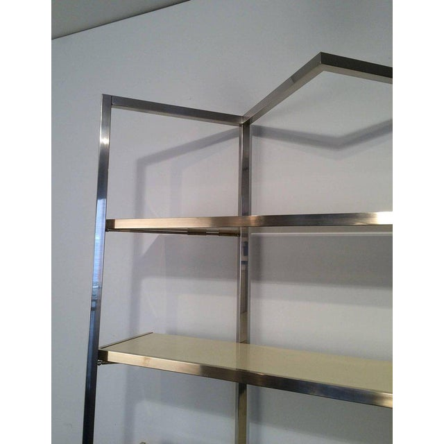 Chrome and Egg Shell Lacquered Etagere - Image 5 of 11