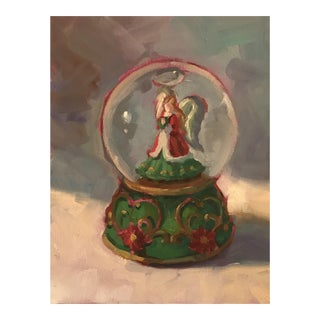 1990s Snow Globe Still Life Oil on Canvas Board Painting For Sale