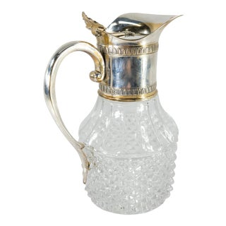 Vintage Pressed Glass and Silverplate Pitcher Decanter For Sale