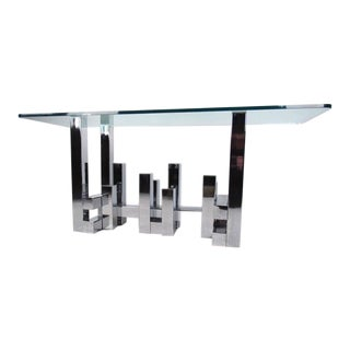 Paul Evans Style Chrome and Glass Console Table