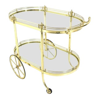 Vintage Mid Century Two-Tier Polished Brass Glass Rolling Serving Bar Cart For Sale