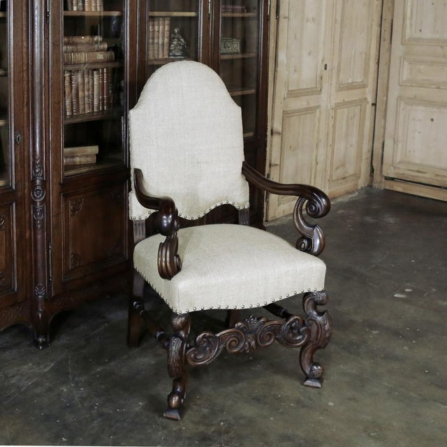 The artistry to which this handsome 19th Century French Walnut Armchair was carved, when added to the newly installed...