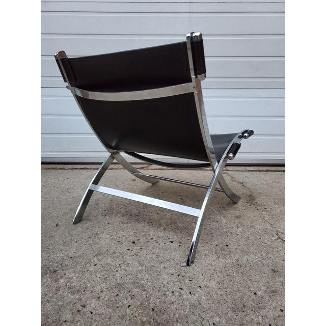 Mid Century Modern Antonio Citterio for Flexform Chrome and Leather Lounge Chair For Sale - Image 9 of 10