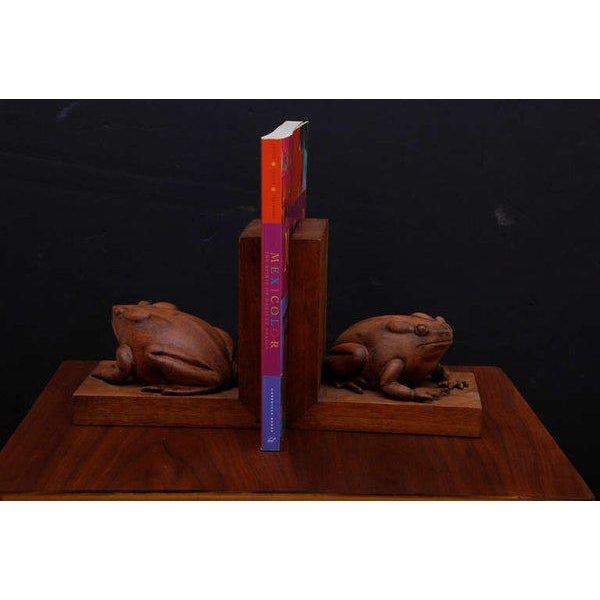 Traditional Frogs Bookends Hand Carved in Mahogany - a Pair For Sale - Image 3 of 6