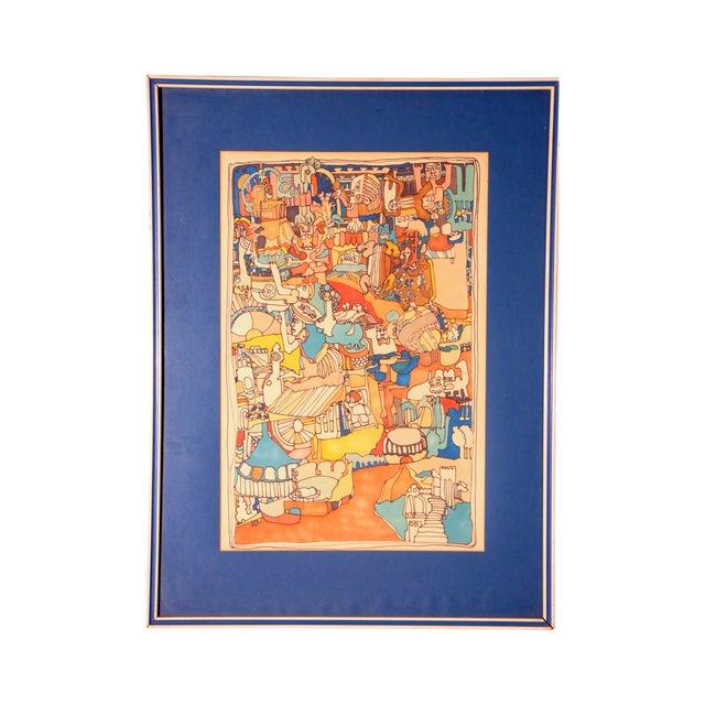 "E. Price Egan ""Brueger Vision"" Framed Pen and Ink Drawing For Sale"