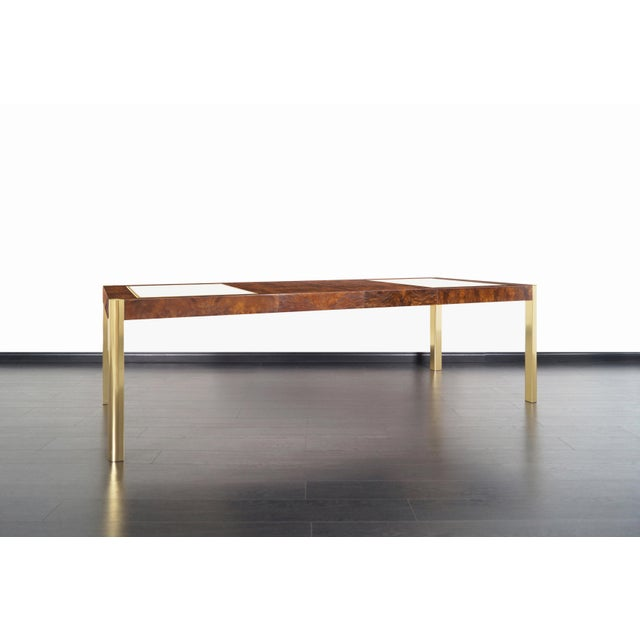 Vintage Burl Wood and Brass Dining Table by Century Furniture For Sale In Los Angeles - Image 6 of 13