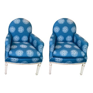 Pair of Blue French Chairs For Sale