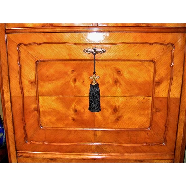 Biedermeier 19c French Louis Philippe Yew Wood Secretaire with Secret Drawers For Sale - Image 3 of 10